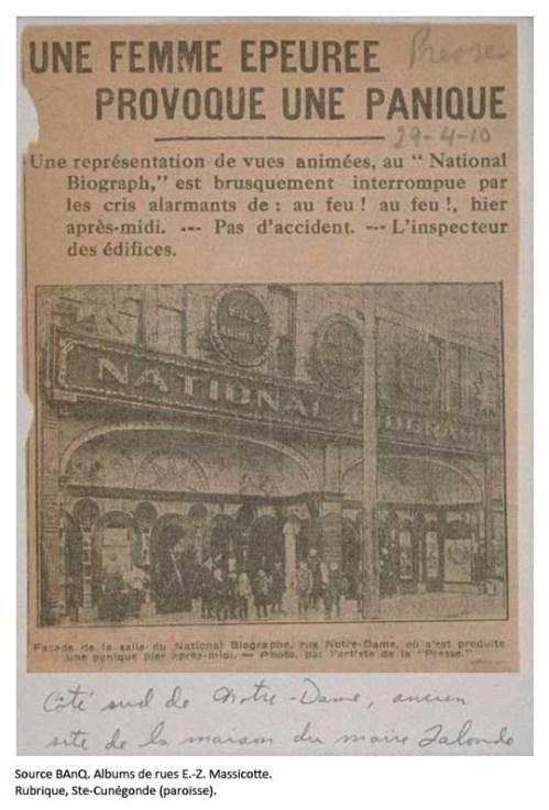National Biograph, l'autre salle de cinéma de Ste-Cunégonde.