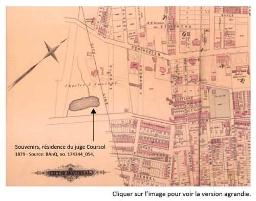 La rue Coursol en 1879. Portion faisant partie de la ville de Montréal.