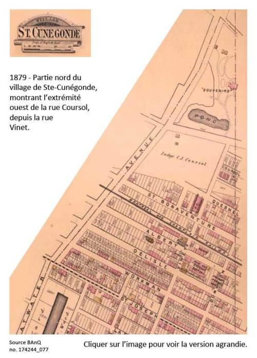 La portion de la rue Coursol en 1879 dans Ste-Cunégonde.