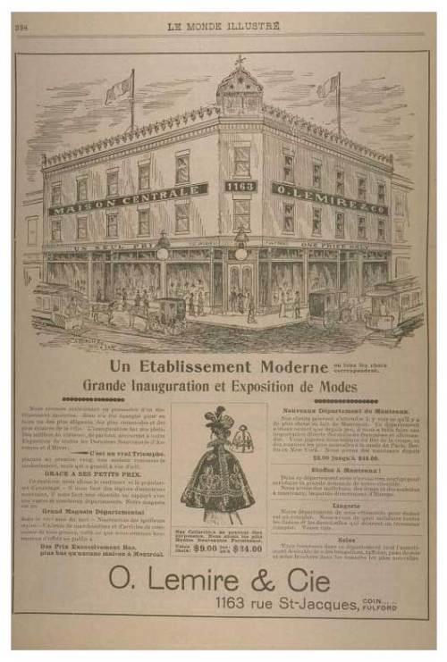 Publicité pour O. Lemire & Co. parue dans Le Monde illustré le 21 octobre 1899. Source BAnQ.