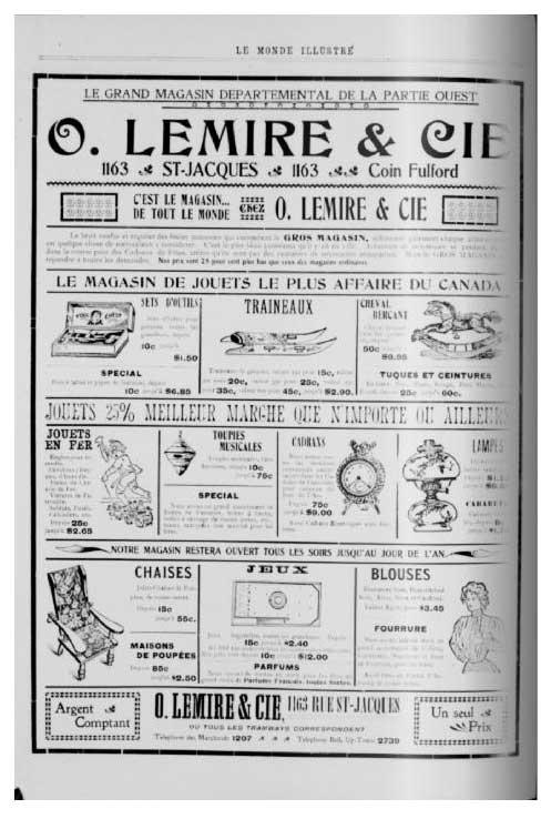 Publicité du magasin O. Lemire parue le 4 janvier 1902 dans Le Monde illustré. Source BAnQ.
