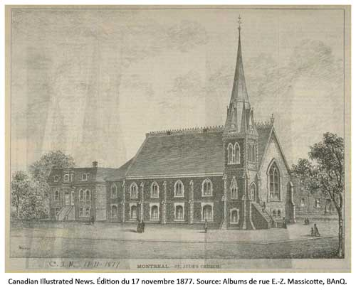 Église St. Jude Canadian Illustrated News, édition du édition du 17 novembre 1877, p. 316. Source: BAnQ.