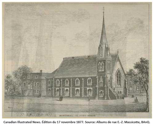 Église St. Jude Canadian Illustrated News, édition du édition du 17 novembre 1877, p. 316. Source: BAnQ.