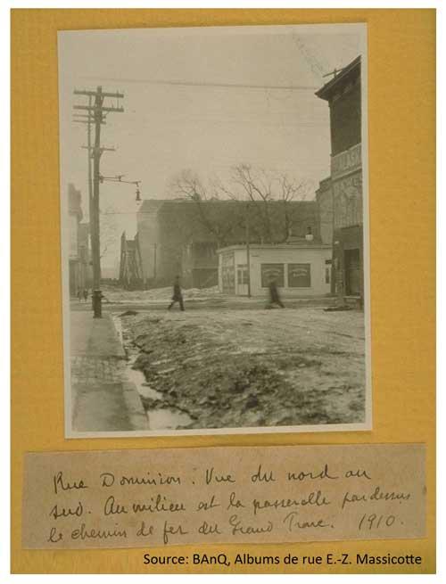 Passerelle de la rue Dominion. Source: BAnQ, Albums de rue E.-Z. Massicotte.