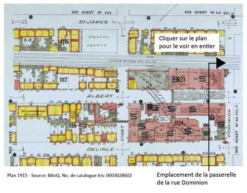 1915 - Plan de Montréal montrant l'emplacement de la passerelle de la rue Dominion. Source: BAnQ.