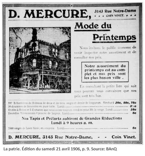 Publicité pour le magasin D. Mercure. Source: BAnQ.
