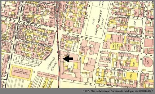 Square Chaboillez sur un plan de Montréal publié en 1907