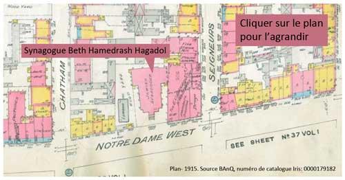 Plan indiquant l'emplacement de la synagogue Beth Hamedrash Hagadol