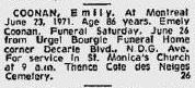 Avis de décès d'Emily Coonan