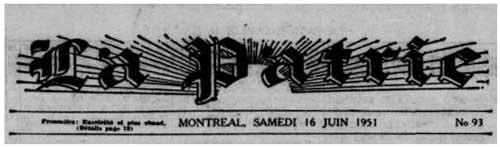 Journal La Patrie 16 juin 1951
