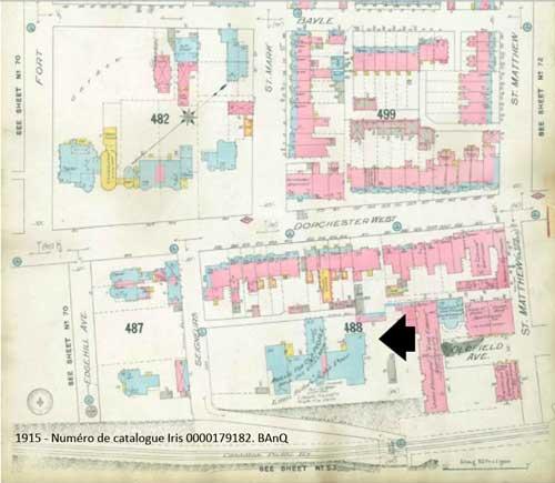 1915. Plan de Montréal indiquant l'emplacement de l'asile des vieillards des Petites Soeurs des Pauvres